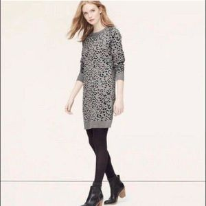 Loft- Cheetah Gray Sweater Dress- Size S